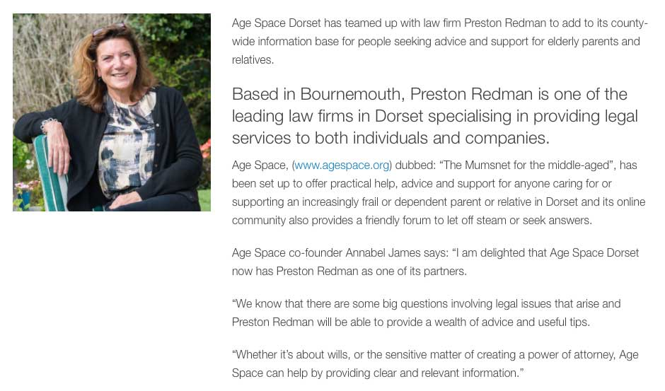Age Space Dorset teams up with Preston Redman - Dorset Business Chamber