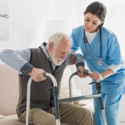 Elderly man assistance in home through support