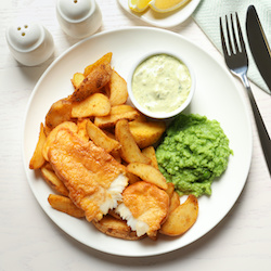 fish and chips at lunch club in Surrey