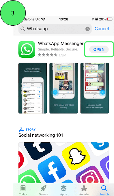 Opening WhatsApp on iPhone
