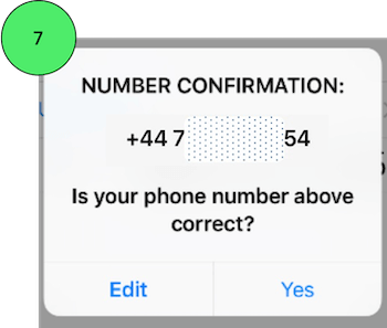 Confirming mobile number on Whatsapp on iPhone