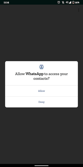 Allowing WhatsApp to Access Android Contacts