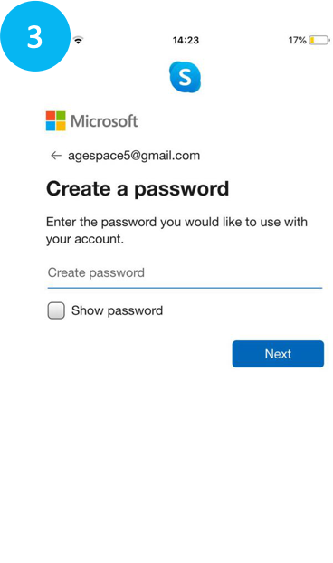 Choosing a password for Skype on phone.