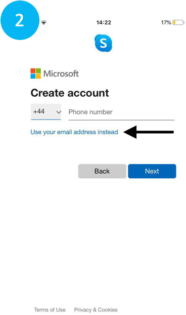 Choosing to enter an email address for Skype account on phone