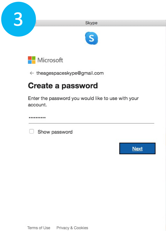 Choosing a password for skype account on laptop.