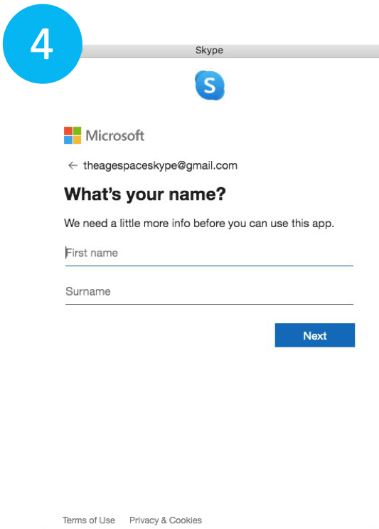 Entering details to make skype account on laptop
