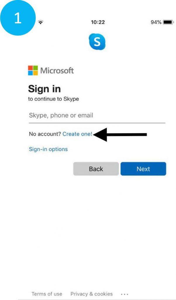 Choosing to create a Skype account on a phone.